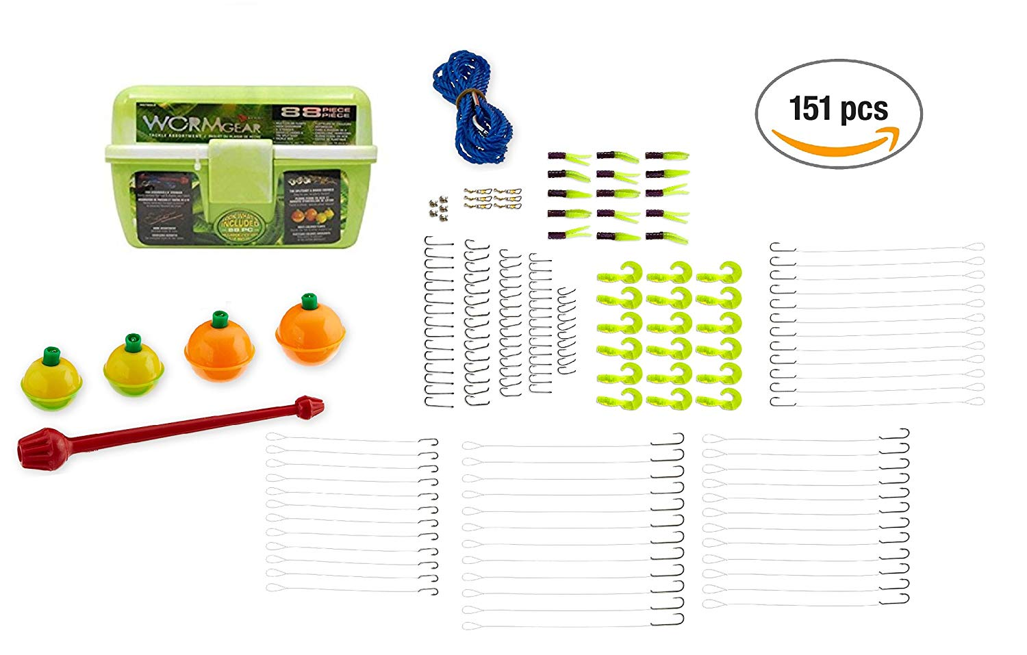 151 pcs Fishing Tacklebox with Tackle - Extra Fishing Jigs & Fishing Hooks Bundle | Fishing Gear Tackle Organizer Great for Bass Fishing & Trout Fishing | Extra Fishing Accessories
