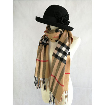 Factory Cheap Plaid Cashmere Merino Wool Women Tartan Scarf