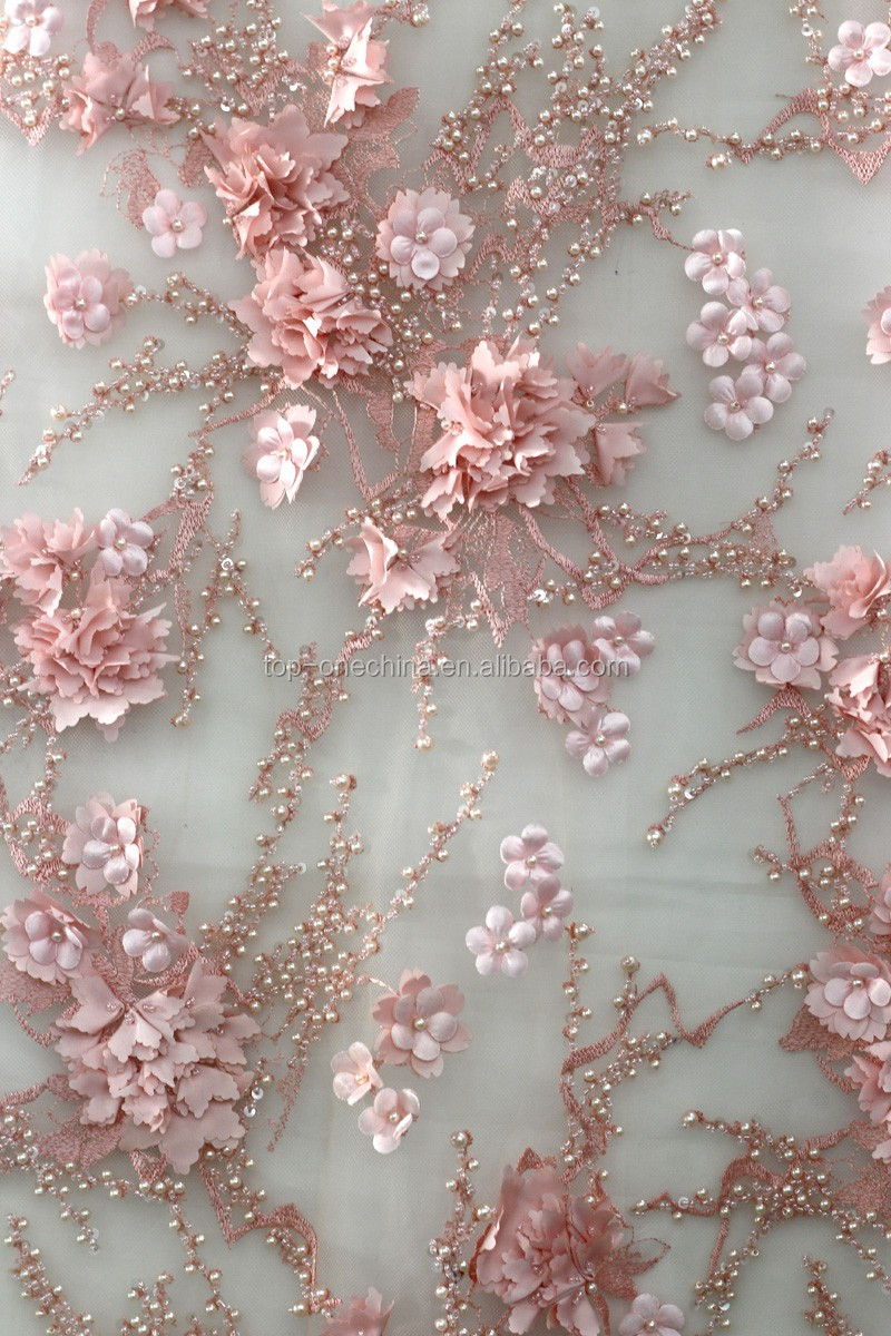 2016 Latest Handwork Embroidery Lace Fabrics Beaded Mesh Embroidery
