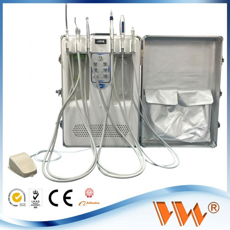 multi-function supplying portable dental unit with internal water bottle