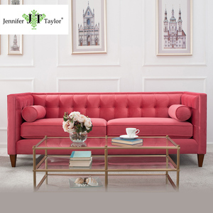 Upholstered Velvet 3 seater Tufted Sectional Wedding Sofa/Modern American Style Pink Fabric Living Room Couch Furniture