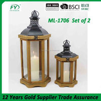 Wedding decoration indoor and outdoor hexagon wood lantern with metal top and glass panels ML-1706 set of 2