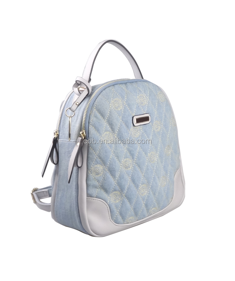ddc6ffa5674c Denim fabric material Sky blue color cheap cute teen girl backpacks for college  girls