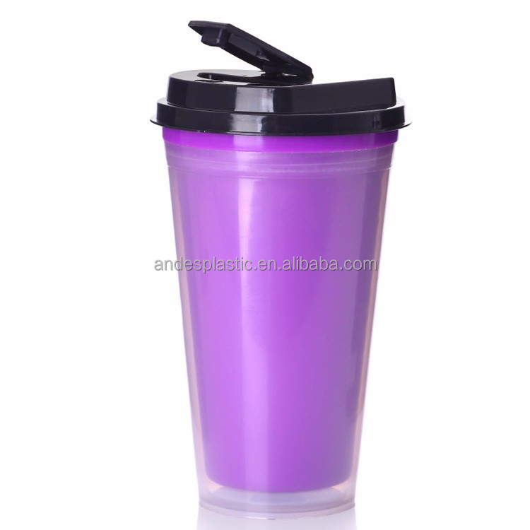 Imprinting and heat transfer printing double wall plastic coffee cup