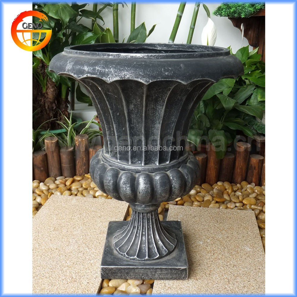 stone aged iron urns faux cast pedestal p charcoal x urn planters mpg in