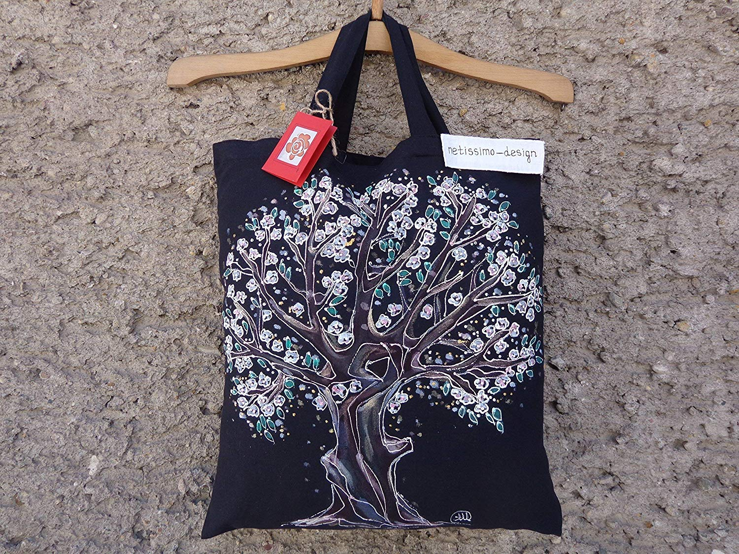 Sale!!!15% Off,Tree of Life Illustration Eko Tote Bag,Hand Painted organic cotton tote bag,Acrylic Painted Tree of Life,Black Tote Bag.