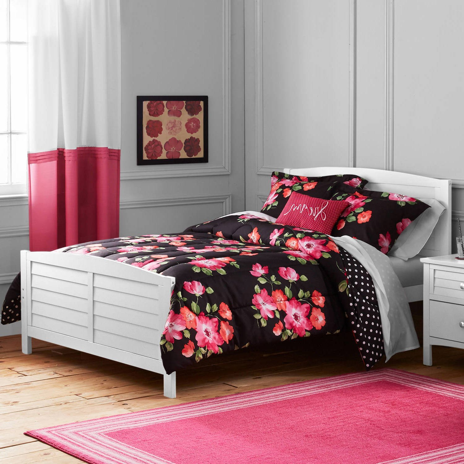 4 Piece Girls Black Dark Pink Watercolor Floral Printed Comforter Set Full Queen, Dark Black Hot Pink Coral Flower Bouquets Teen Themed Kids Bedding For Bedroom Reversible Polka Dot Trendy, Polyester