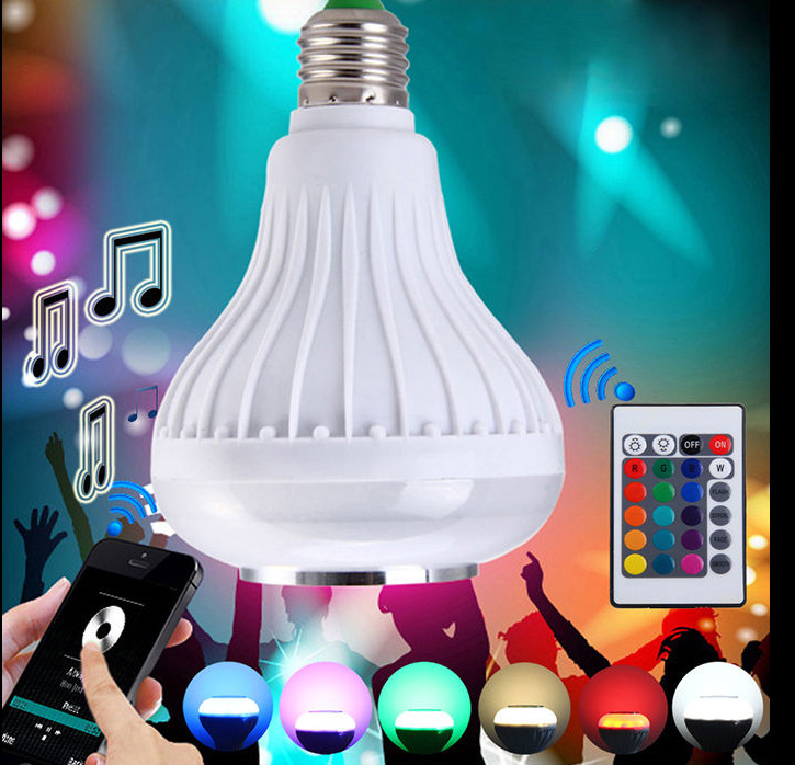 Audio Speaker wireless bluetooth music e27 b22 1000 lumen color change rgb led <strong>bulb</strong> multicolor
