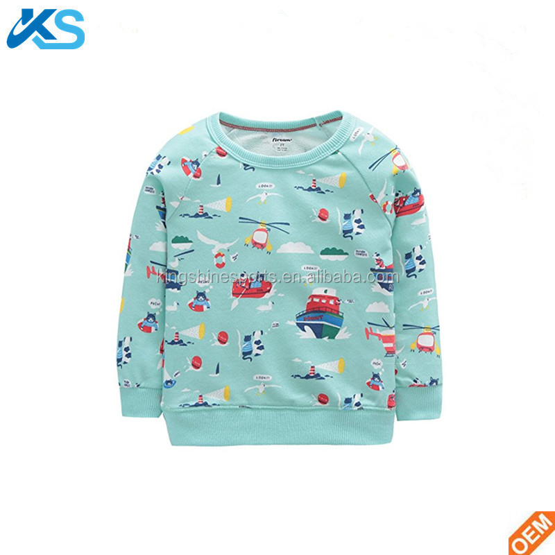 Sweatshirt Children Long Sleeve Crewneck Durable Breathable Flexible Full Print 100% Organic Cotton Baby Pullover Hoodie
