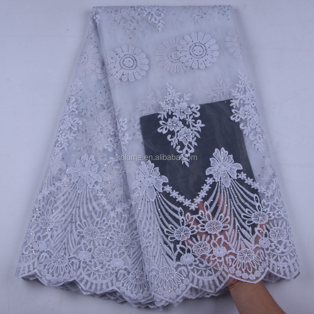 2019 Latest African Lace Fabric With Stones Embroidery Milk Silk Tulle Lace Fabric High Quality Nigerian Lace For Wedding 1653