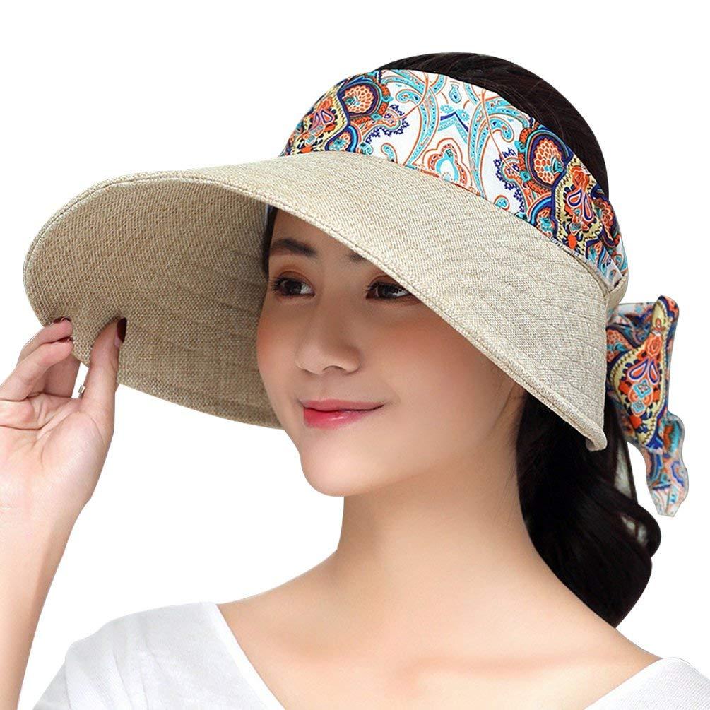 Get Quotations · VBIGER Women Sun Hat Wide Brim Summer Visor Hat UV  Protection Beach Sunhat Ourdoor Cap with 7365084589cc