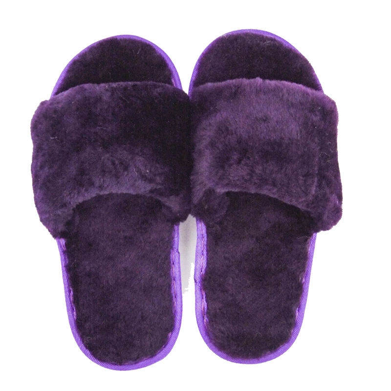 0f9e44b01d3 High quality home slipper indoor real sheepskin fur lined kids open toe slippers  women winter purple sliders slippers