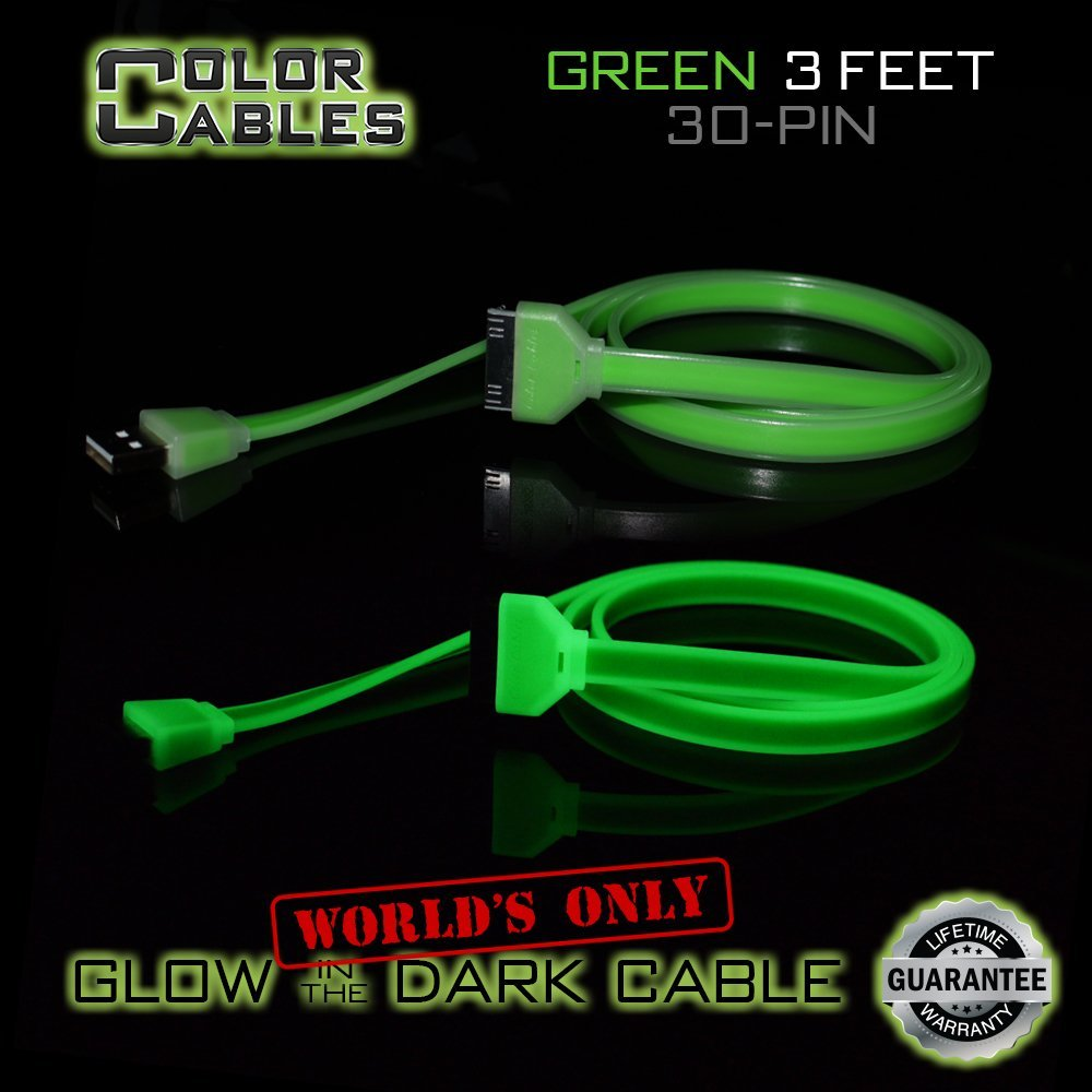 Color Cables: Apple 30 Pin Charge and Sync Data Cable (GREEN - 3FT) Glow in the Dark - 1M Long - Extra Tough - No Tangle - High-Speed - Premium 30 Pin to USB A Male Cable