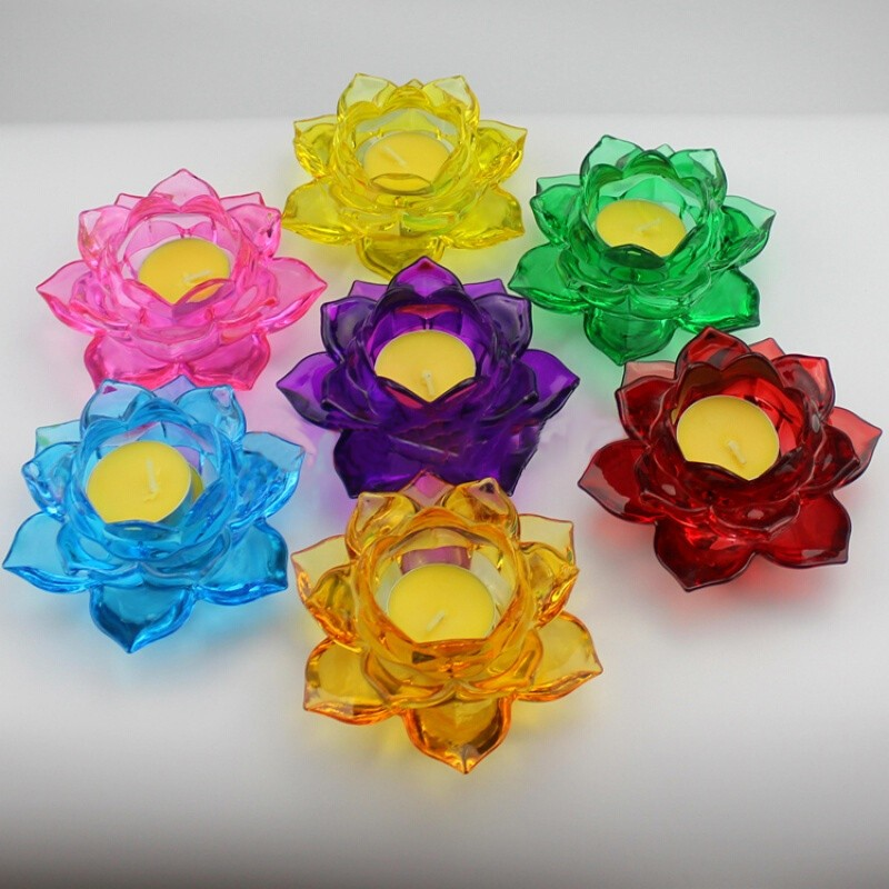 Artificial And Cheaper Glass Candelabra Crystal  Lotus Flower Tealight Votive Candle Holder