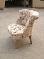 High quality hot sales small size fabric sofa antiqued finish upholstery chair