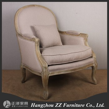 French Classic Antique Mango Wood Frame And Cotton Upholstery Armchair