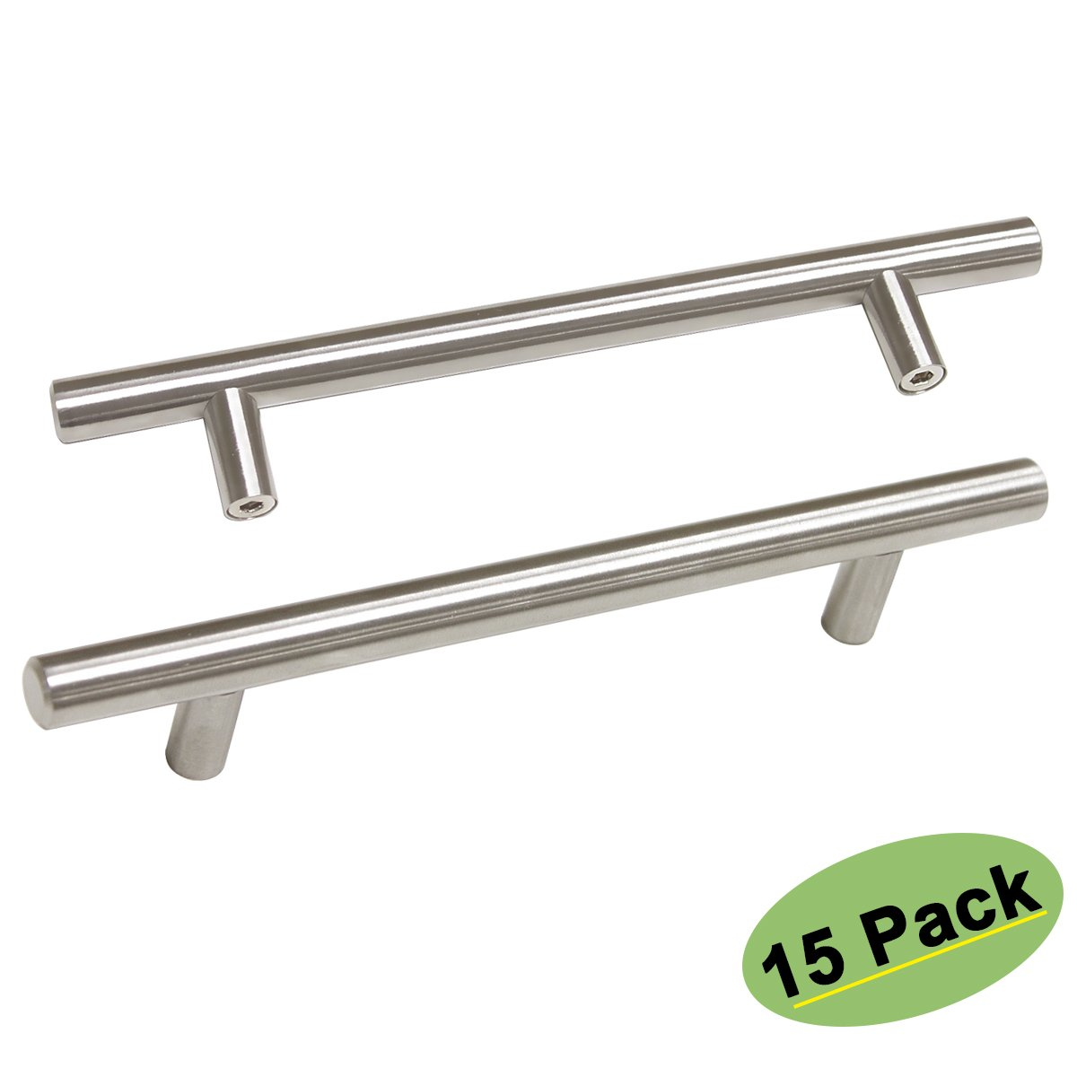 Brushed Satin Nickel Stainless Steel Drawer Cabinet Pulls and Handles 15 Pack 5in (128mm) Hole Centers- Homdiy HD201 T Bar Kitchen Cabinet Hardware Handles