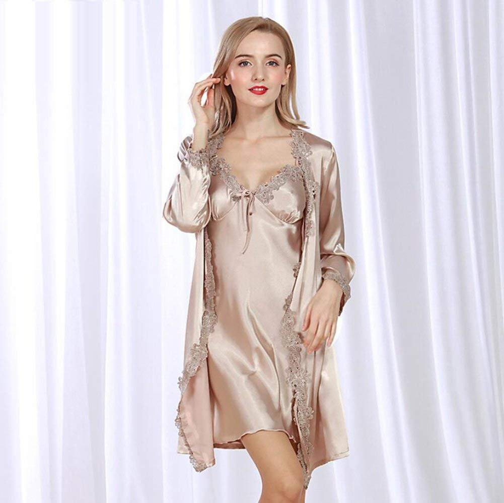 Get Quotations · ALJL new silk robe Ladies Cardigan Pajamas Set Lace Sexy  Pajamas Variety of colors e96ab265a
