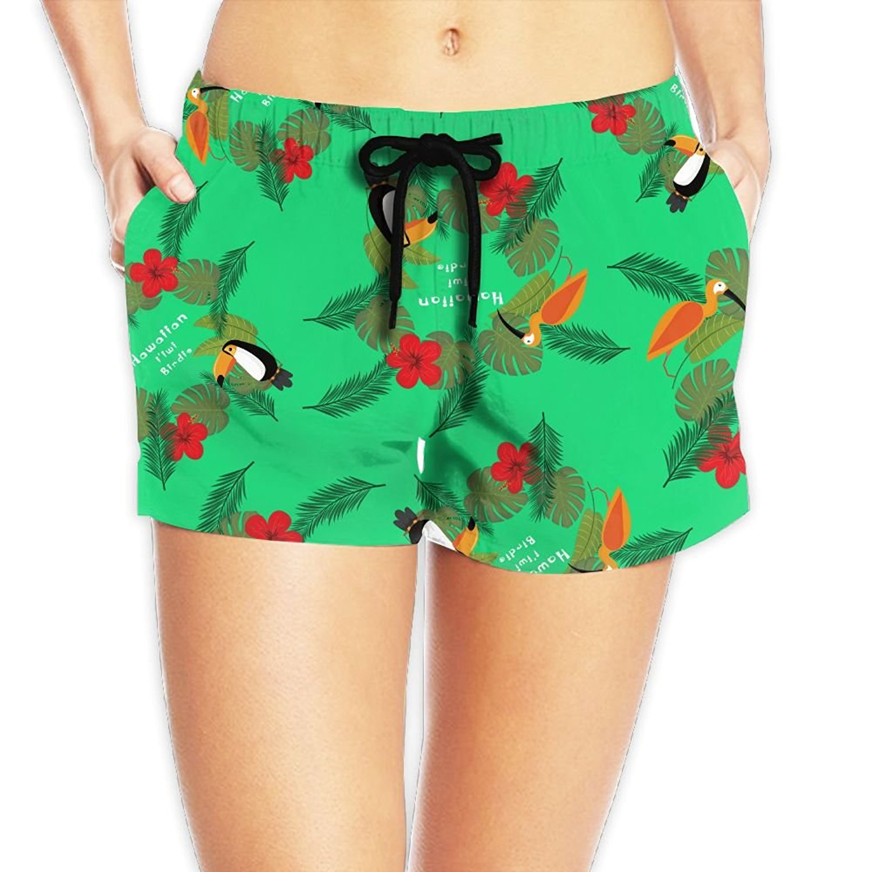 9eff0e13b936 Get Quotations · Hdbh Board Shorts Hawaiian I'iwi Birdie Azalea Flowers  Women Board Shorts Waistband Swim Quick
