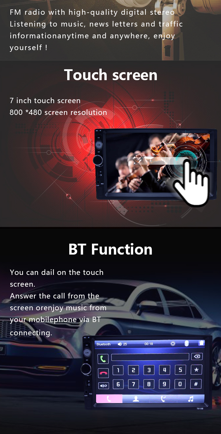 2019 Double Din Car Stereo Receiver Bluetooth Touch Screen 7 inch with Rear-View Camera Radio FM Video MP5/4/3 Player low price