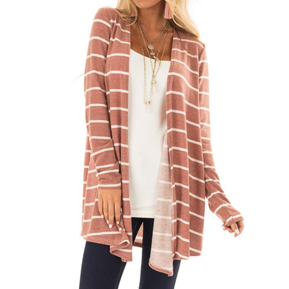 Makeupstore Hoodies for Women, Womens Long Sleeve Stripe Print Fashion Long Coat Bllouse T-Shirt Tank Tops