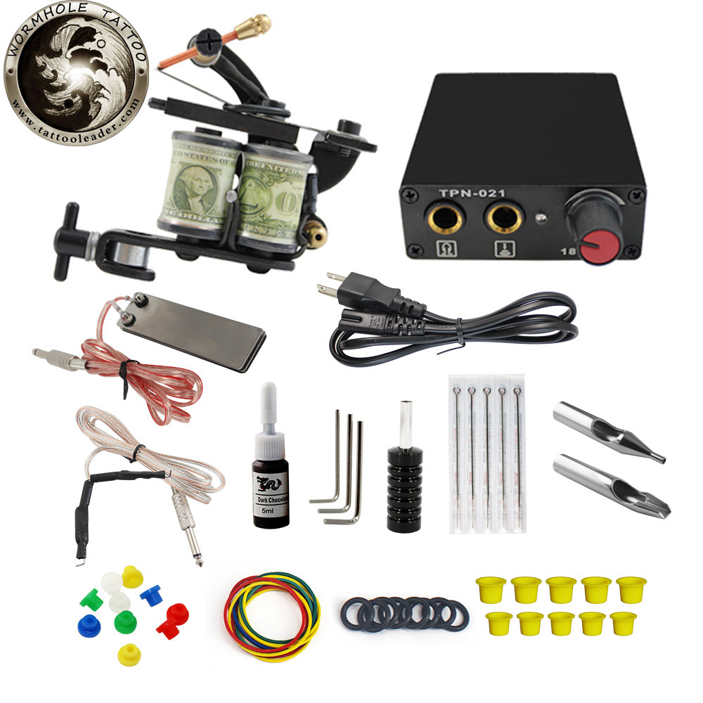Wormhole Whosale 1 Tattoo Machine Gun Needles Power Supply Stainless Steel Tip Premium Quality Complete Tattoo Kit For Beginners
