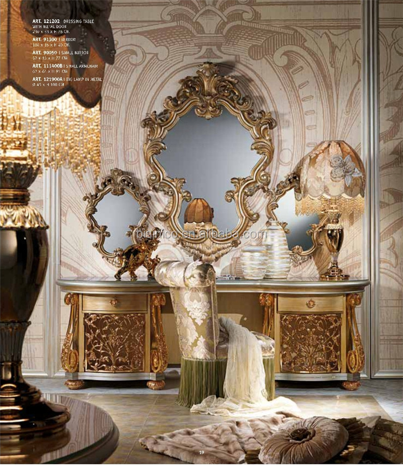 Italian Baroque Style Wooden Dressing Table In Gold And White Design Vanity B