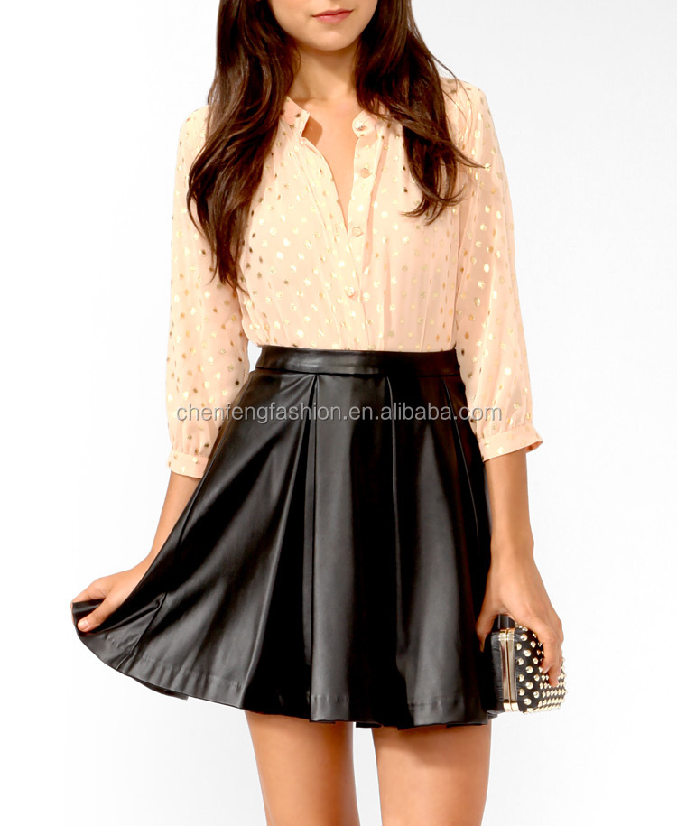 CHEFON Metallic polka dot ladies formal skirt and blouse