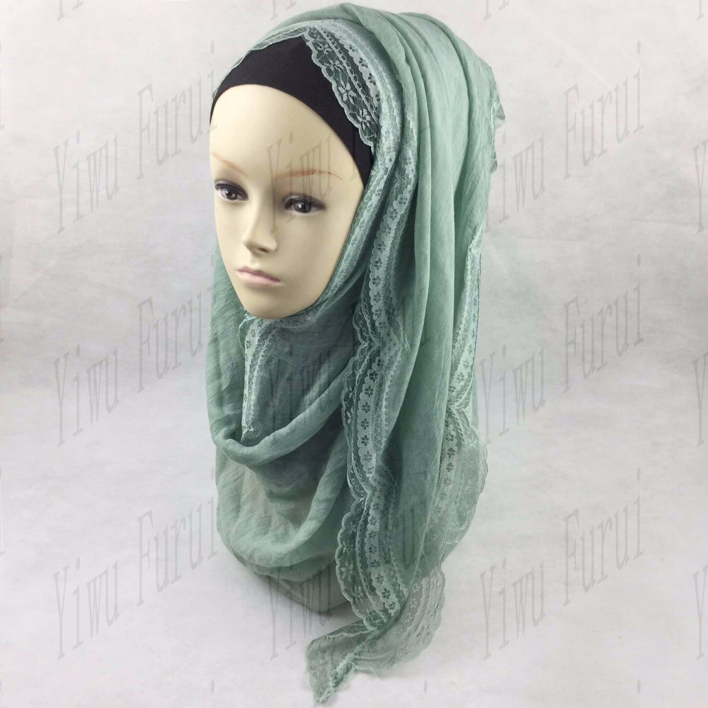 New style wholesale lace around cotton floral shawls arab muslim women's scarves