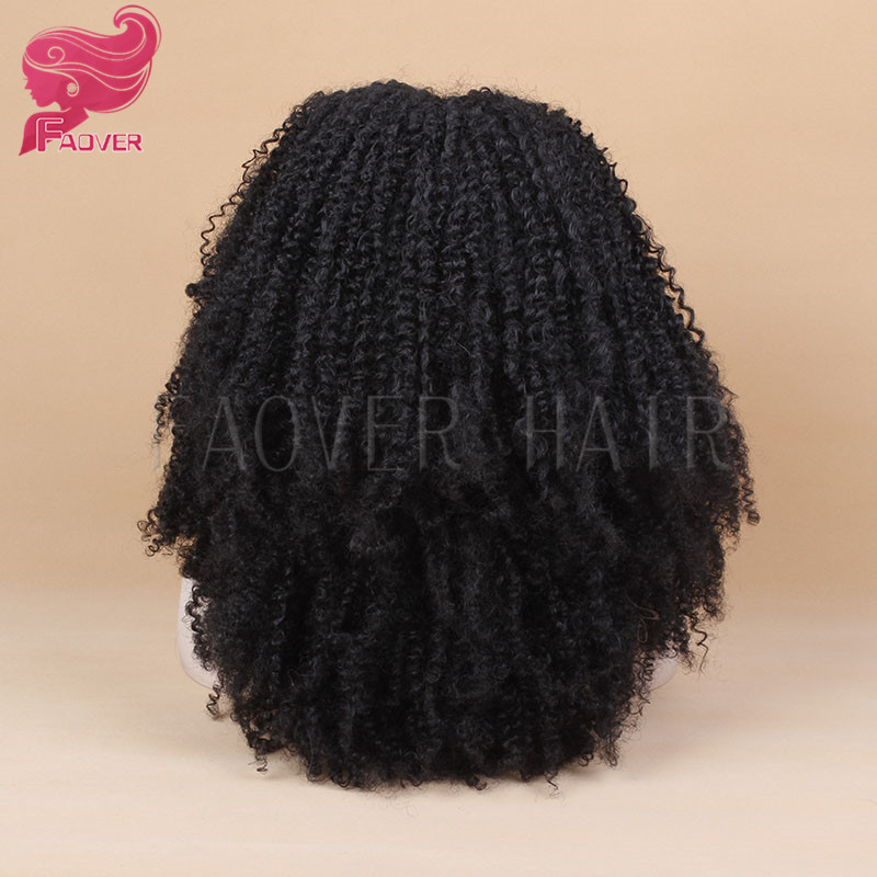 High Quality Afro Kinky Curly Synthetic Hair Heat Resistant Natural Black Synthetic Lace Front Wig for Women