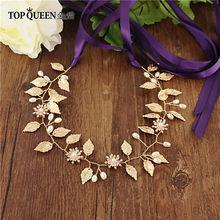 TOPQUEEN SH110 Свадебные Ремни с жемчугом и с золотистыми листьями Свадебные поясом для невесты, свадебные аксессуары, Ремни на платье(Китай)