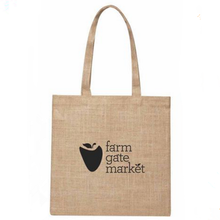 Custom logo silk screen printing reusable jute shopping tote bag