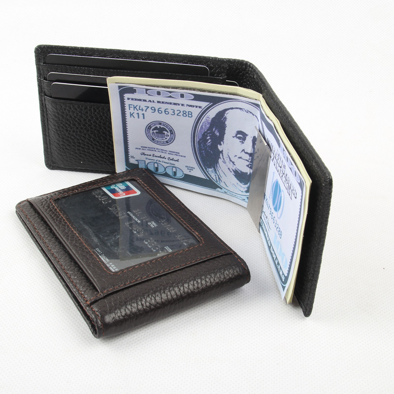 Men Money Clip Luxury Band Genuine Leather Billfold Clamp For Money With Card Hold Men Wallet Multifunctional Clip Purse N088