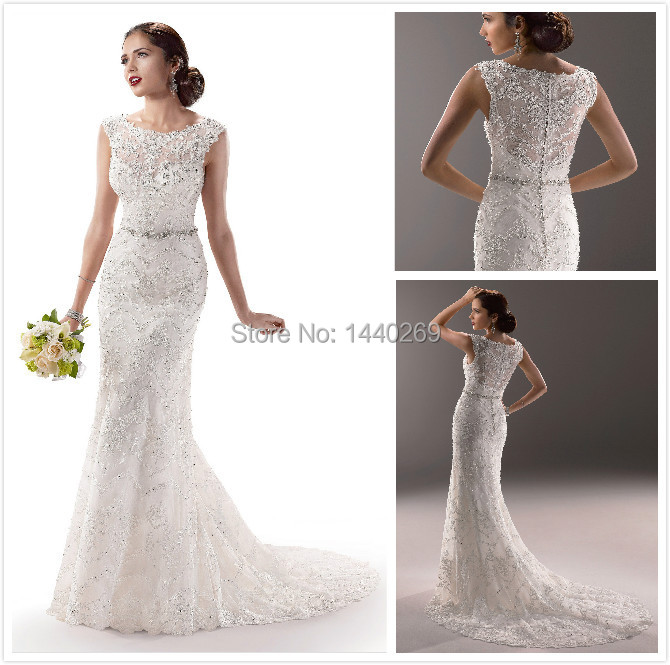 2014 Free Shipping Sheath Sheer Crystal Beaded Sleeveless Wedding Dresses With Chapel Train