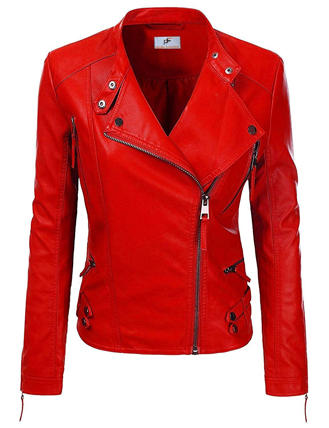 d1805fb4b07d7 Get Quotations · Figura Fashionz Faux PU Red Leather Jacket For Women - Biker  Jacket For Womens With