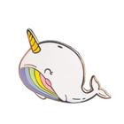 High quality dolphin shape cute silver plated hard enamel lapel pins
