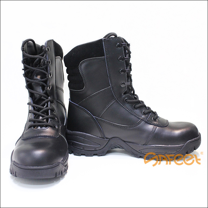 Black Leather Combat Boots High Ankle Safety Shoes For