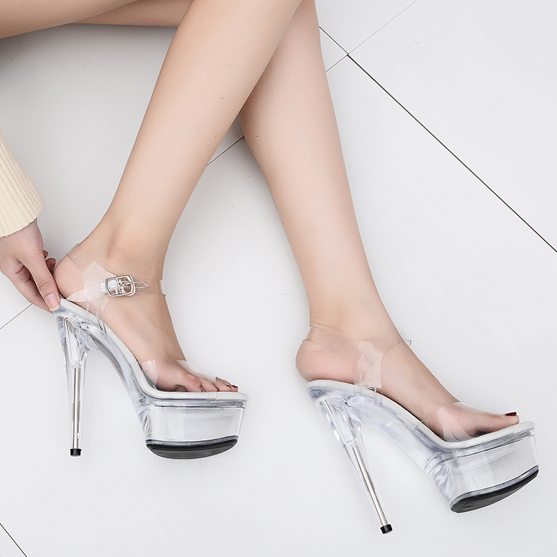 275e9f3f Leecabe de 15 cm Club Sexy zapatos de fiesta patentes plataforma 5 pulgadas  transparente de tacón