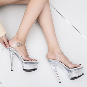 b99c043ed18 Leecabe Fashion 15Cm Plus Size Sexy Club Party Shoes Patent Platform 5 Inch Transparent  High Heel