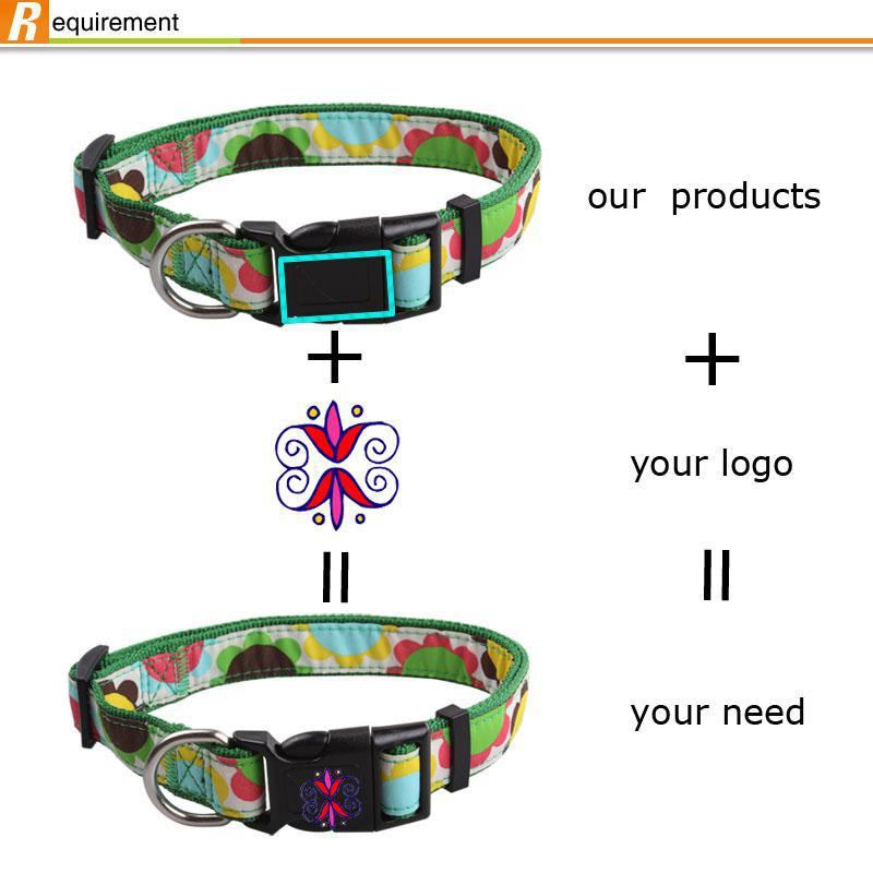 Wholesale custom color and logo adjustable dog collars with metal buckles