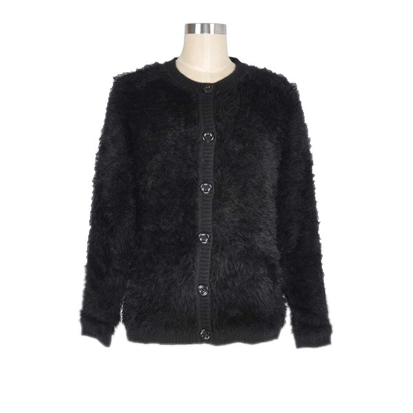 Womens Black Sweater With Feather Collar 15