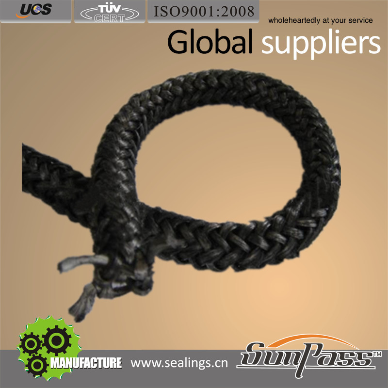 Outdoors Piping and Sealing Industry Fiber Glass Knitted Rope Black Knitting Fiberglass Rope
