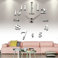UCHOME DIY Large Wall Clock 3D Acrylic Sticker Big Size Home Office Decor 3D Wall Clock