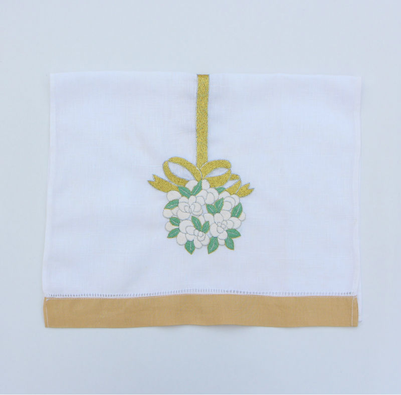 Linen bath towel, flowers and gold ribbon embroidered linen tea towel