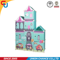 printing castle design kids plastic foldable wardrobe