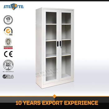 Home Library Furniture White Bookcase Book Rack With Glass Doors