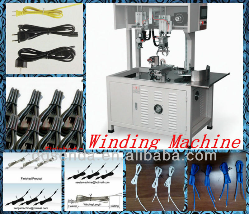 Automatic wire/power cable wrap-and-tie machine