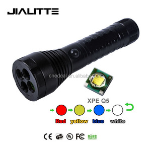 Jialitte CREEs XPE 300LM LED Multifunction 4 Color filter Emergency Railway Signal Light Flashlight Torch F028