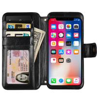 Leather Wallet Phone Case with Card Holder Kickstand Protective multi function Cover for iPhone 10 X