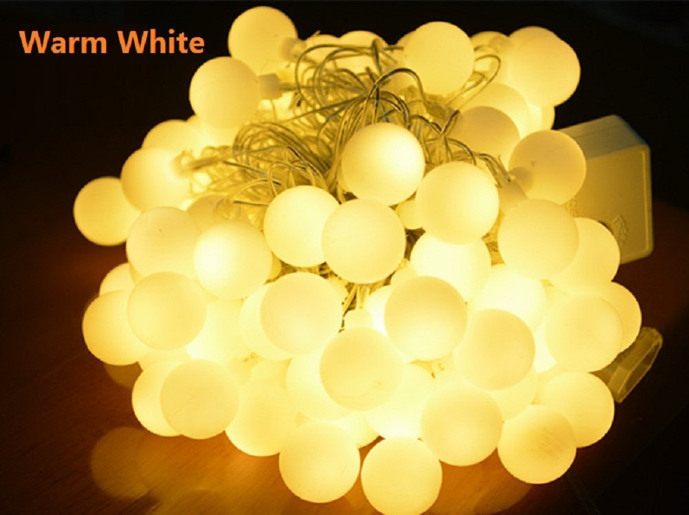 Imoregro 33ft 10m 100 Led 110v Outdoor String Lights Warm White Ball Fairy Light For